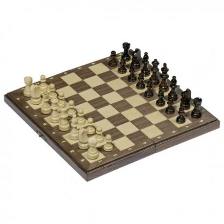 Jeu d'échecs magnétique dans une boîte en bois pliable